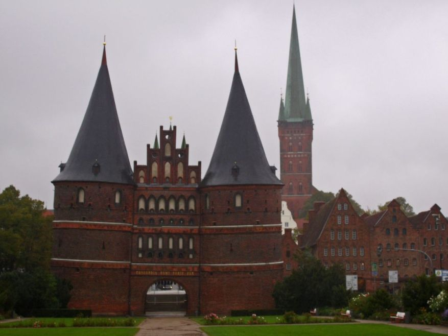 Holsten Gate and Petri Church in Lübeck