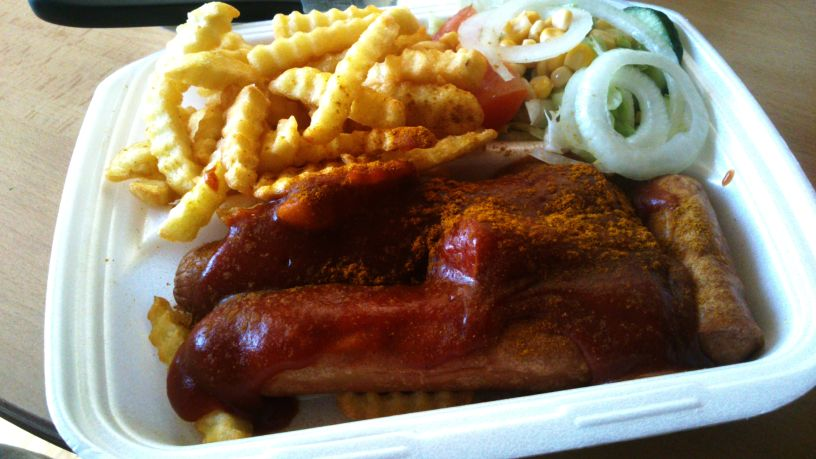 Currywurst, French Fries and Salad