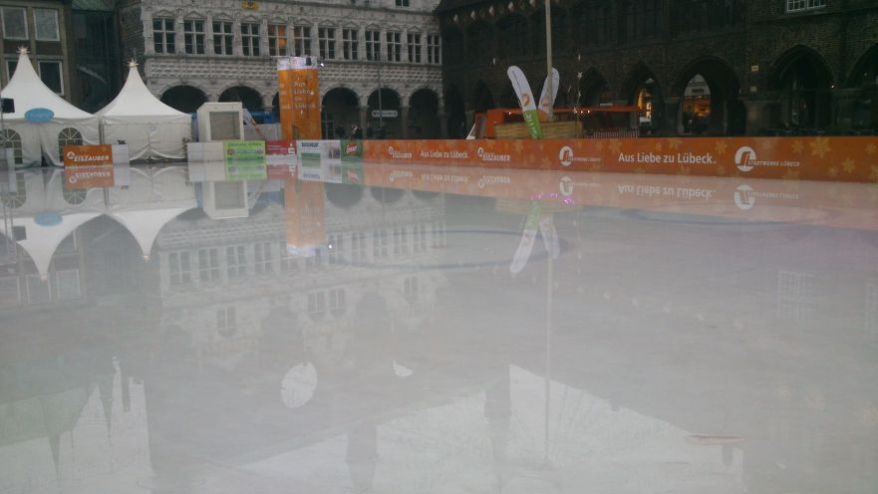 Unfreezed ice skating ground