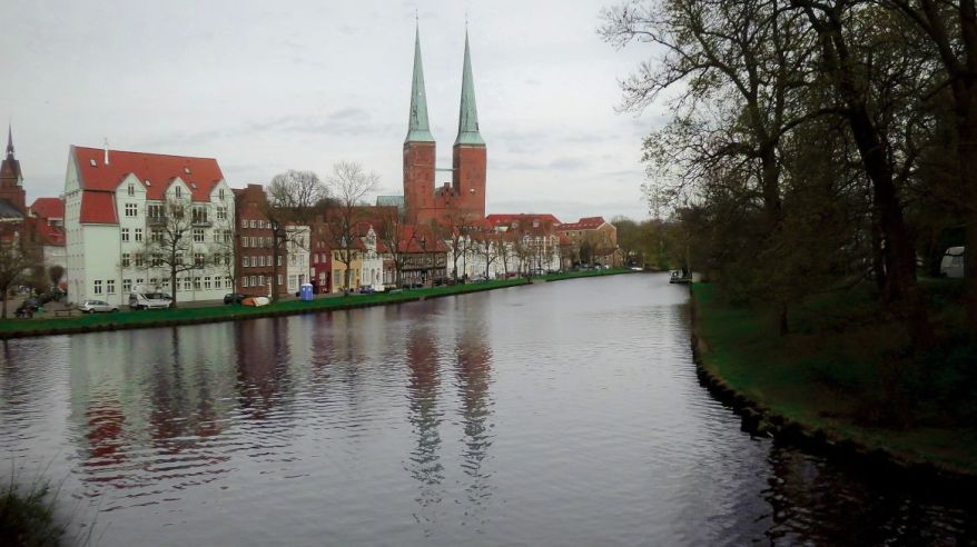 Lübeck Trave River, View In The Direction To The Lübeck Cathedral