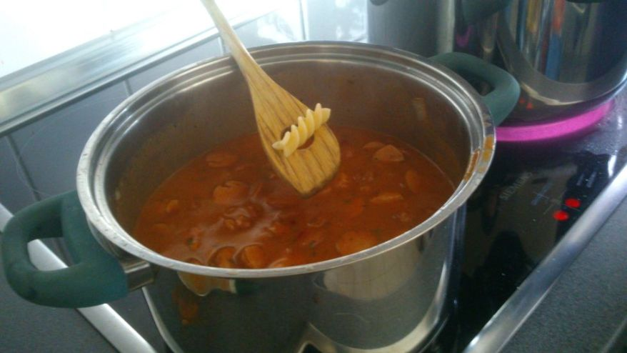 Noodles And Sausage Sauce