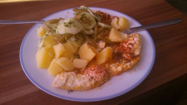 Potatoes, Cucumber, Green Beans And Fried Eggs