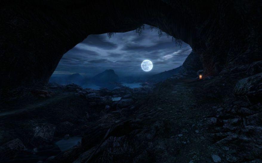 Dear Esther Cave And Moon Screenshot