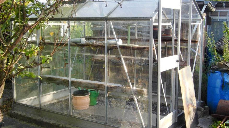 Greenhouse with bursted door and front windows