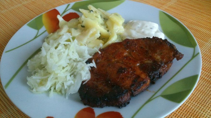 Sauerkraut, Potato Salad and Steak