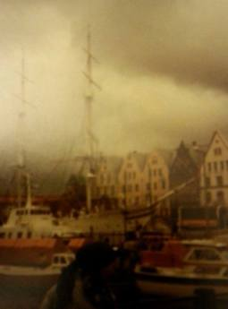 Wooden houses, port and ships in Norway Bergen