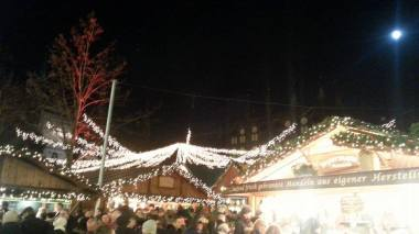 Christmas market shops and beautiful lighting