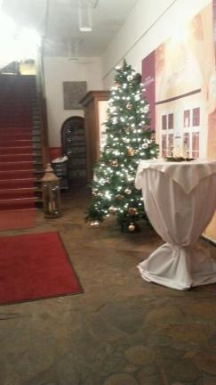 Christmas tree in a small room of the townhall