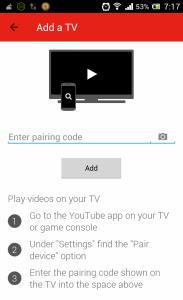 YouTube Remote Pairing Code