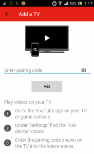 YouTube Remote Pairing Code