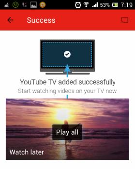 YouTube TV pairing successfull