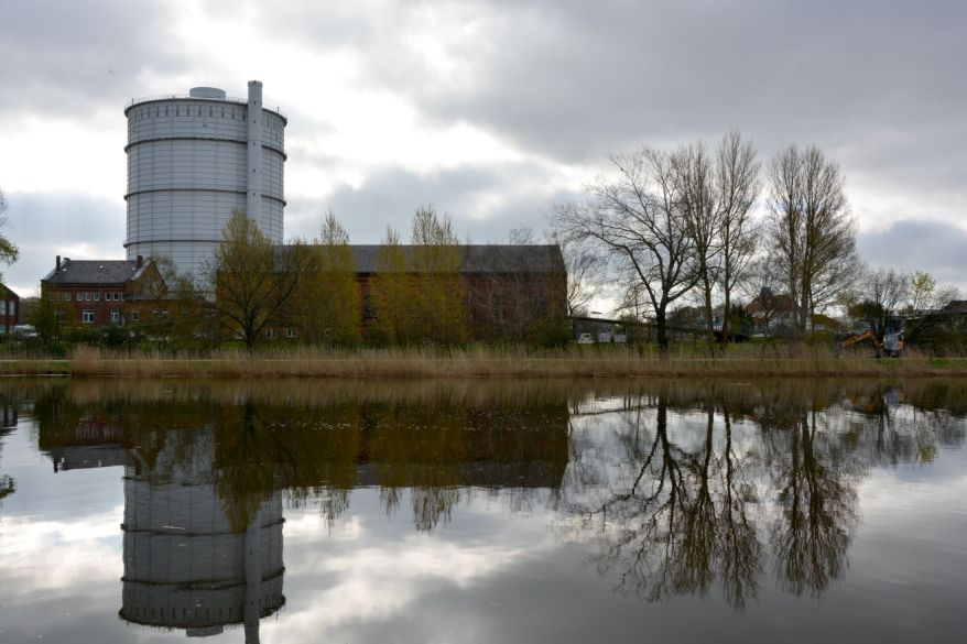 Trave River And Gas Holder