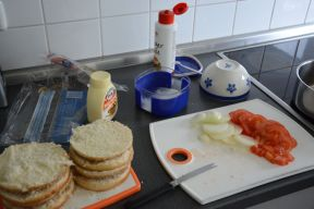 preparing the burger ingredients