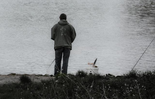 Angler black and white photo