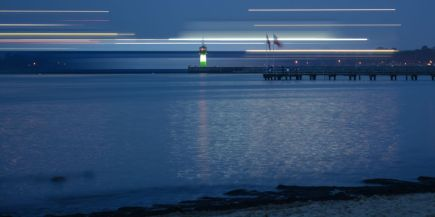 Long exposure of a ship in Travemünde
