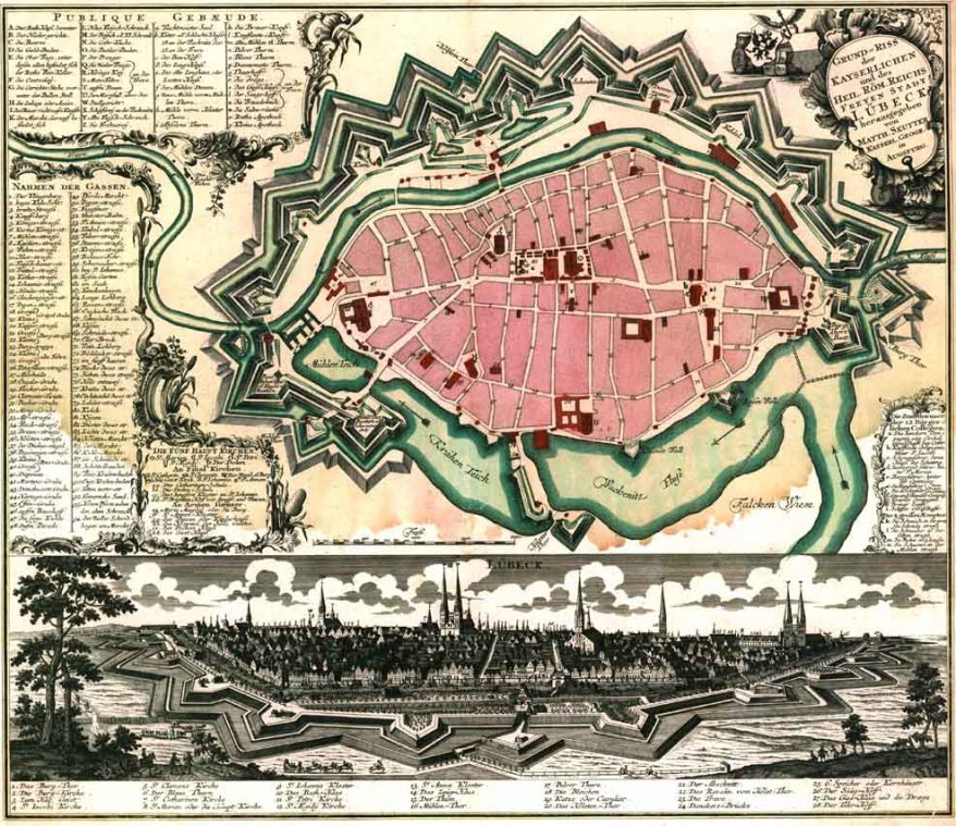 Old city plan or city map of Lübeck in the year 1750