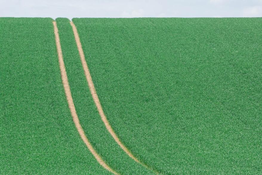 Farm tractor tracks