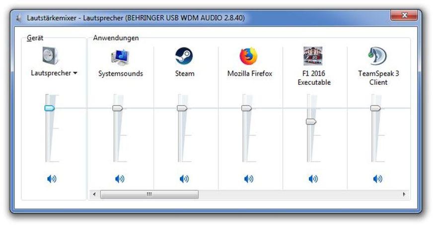 Windows Sound Mixer Screenshot
