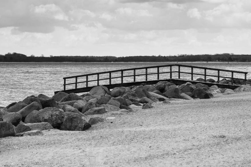 Baltic Sea Coast in Black and White