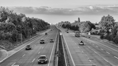 German Autobahn in Black and White