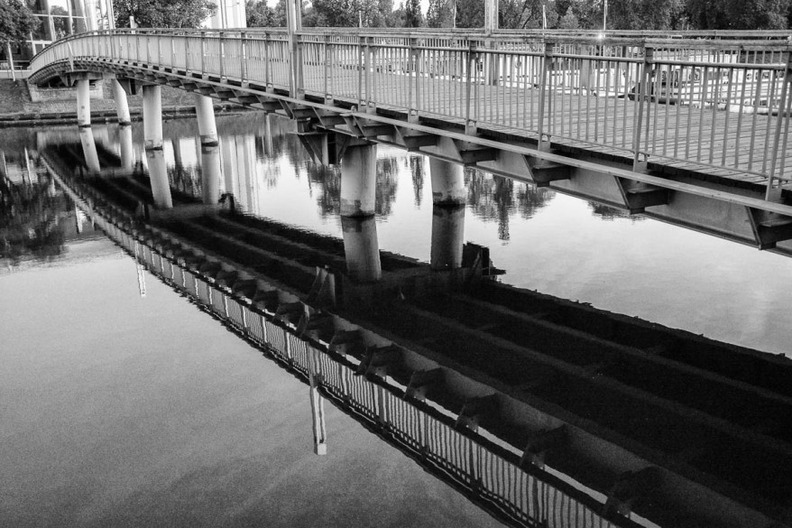 bridge reflection in the water