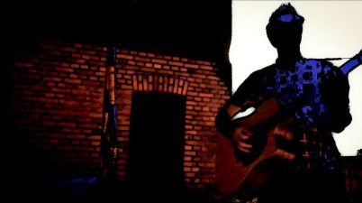 abstract image of me playing guitar