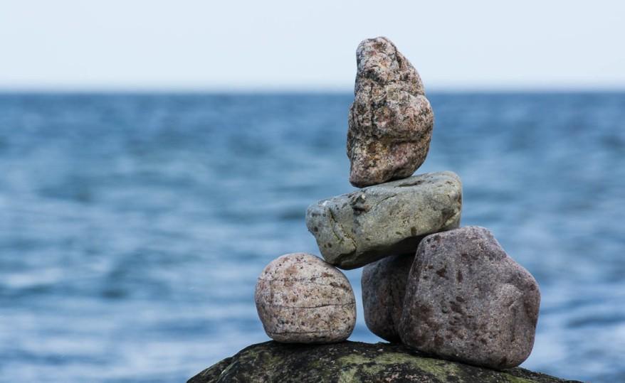 Rock balancing at the Baltic Sea