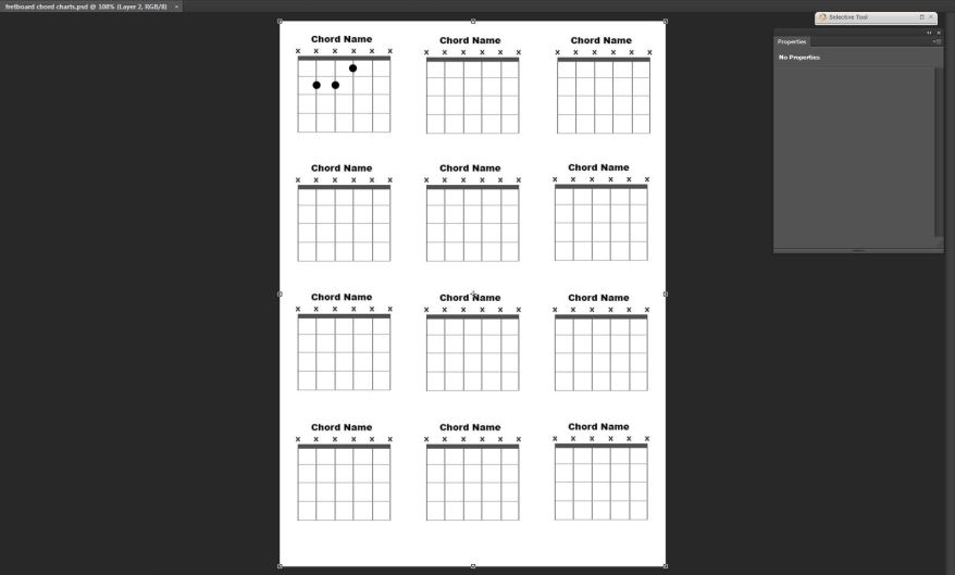 Photoshop chord chart work in progress screenshot